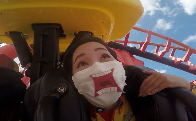 """Japan Theme Park Gives Visitors Stickers To Let """"Scream"""" With Their Masks"""