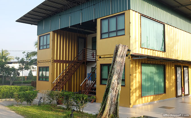 Bright yellow container rooms