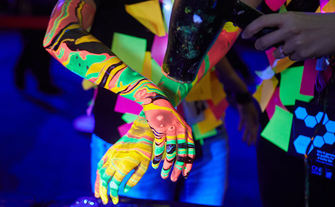 Drop-in UV Body Marbling by Psyckaholics - Family-friendly activities at Light to Night 2020