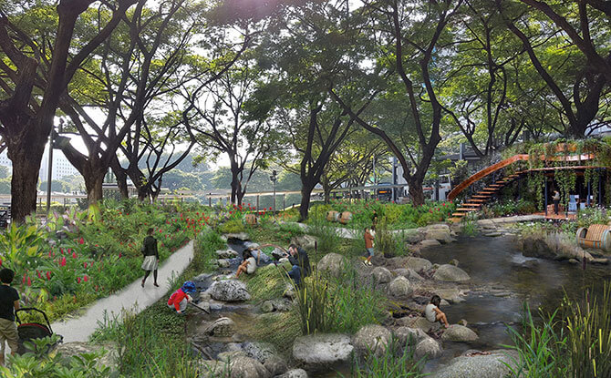 Artist's impression of the waterplay area at the nature playgarden