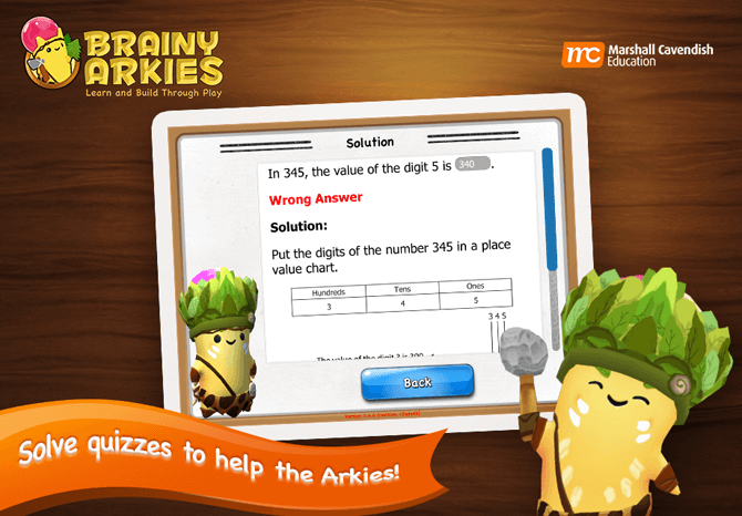 Reinforce Maths concepts through Brainy Arkies quizzes