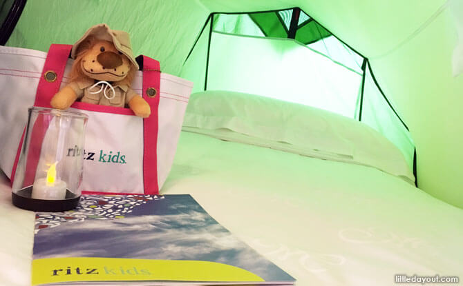 Inside the tent at Ritz Kids Night Safari Adventures