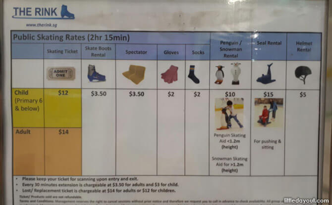 Rental Rates at The Rink