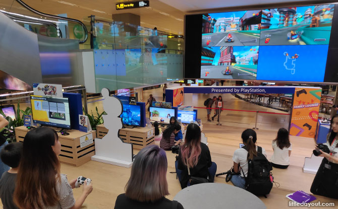 Gaming lounge at Changi Airport T3 presented by Playstation