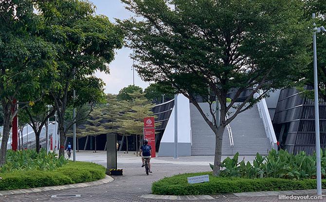 Cycling past Singapore Sports Hub