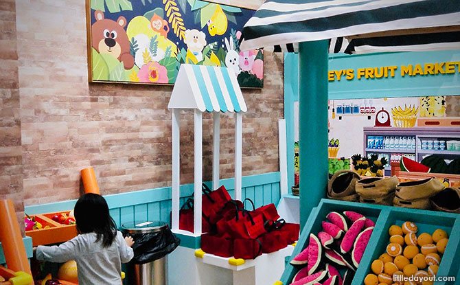 Pretend-play rooms at the Kiztopia Indoor Playground