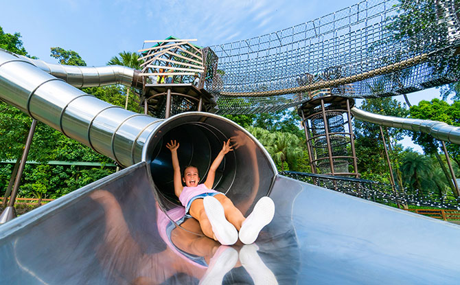 one of the longest and most thrilling tube slides on Sentosa Island