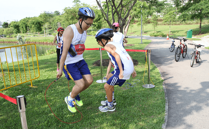 Obstacle stations at the SAFRA Punggol Waterway Challenge