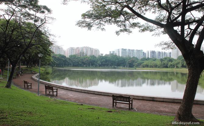 Promenade runs around the lake at Punggol Park