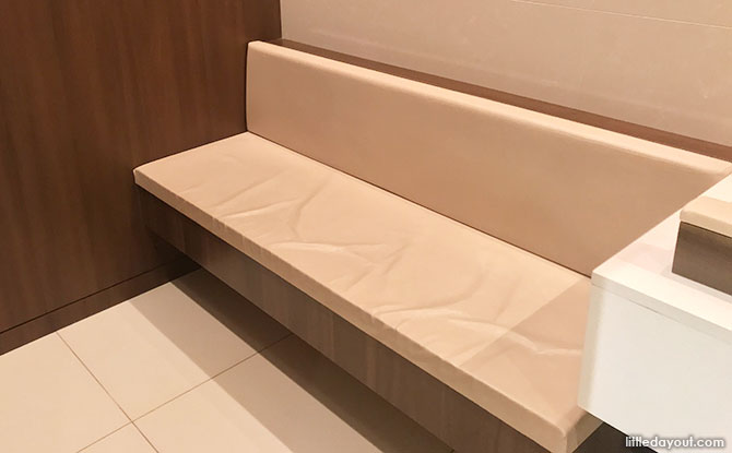 Bench in the Scotts Square Diaper Changing Room