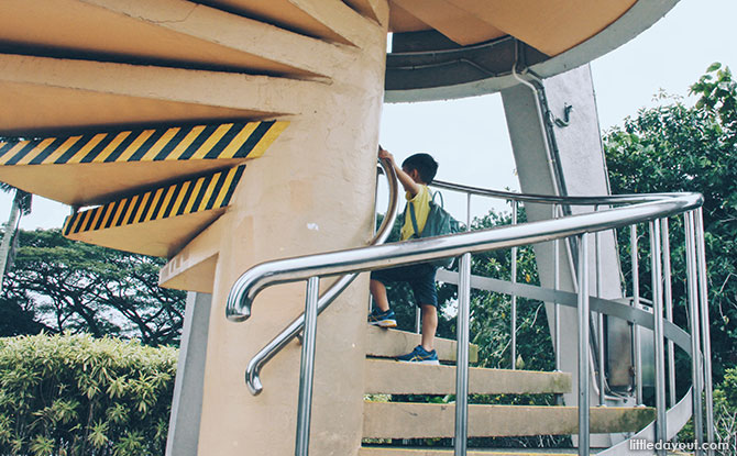 Climbing the Rocket Tower at Upper Seletar Reservoir Park