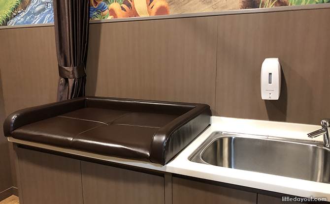 diaper changing mat and sink