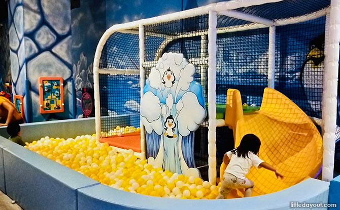 Toddler-friendly ball pit at the Amazonia Indoor Playground