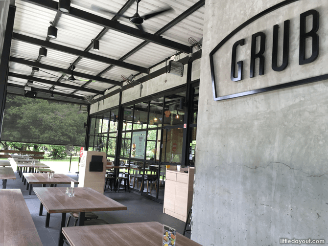 The outdoor seating area at GRUB