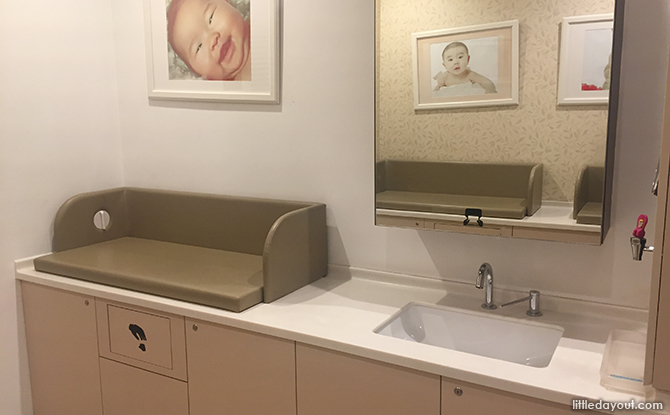 sink and diaper changing station