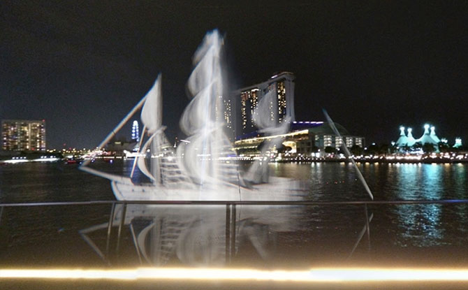 Sailboats at Marina Bay, I Light Singapore 2019