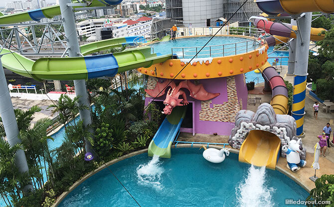 Two landing pools in one ride at Tong Tong's Magic Slide (the one in green and blue)