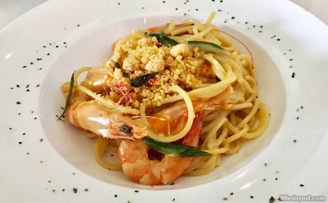Salted egg pasta at NOM Bistro