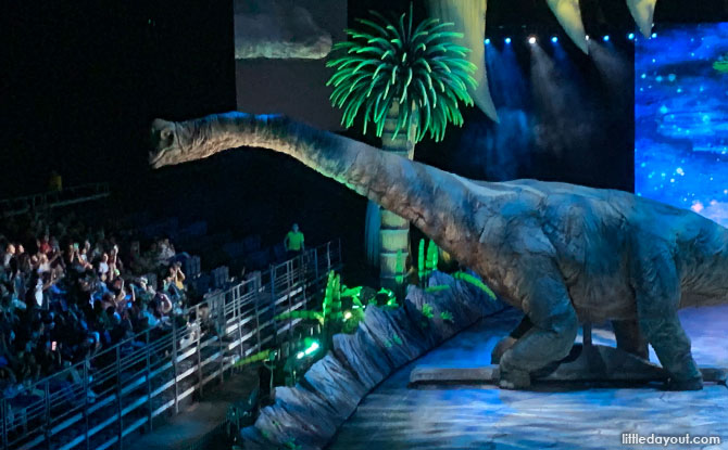 Dinosaurs interacting with the audience