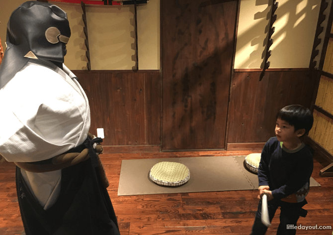 Sword play at Ninja Trick House in Tokyo