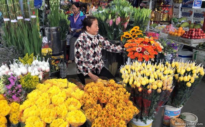 Flowers for sale, Con Market, Da Nang, Vietnam