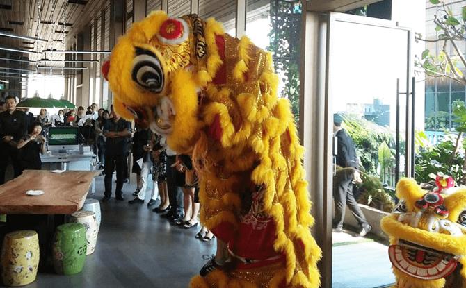 Lion dance entering the premises