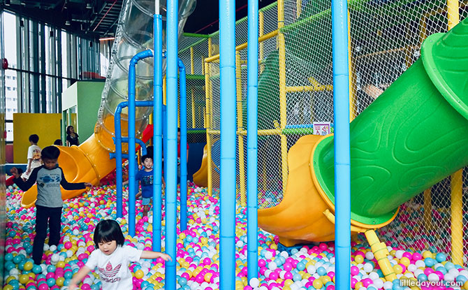 Ball-filled play area at the Our Tampines Hub indoor playground, PLAYtopia