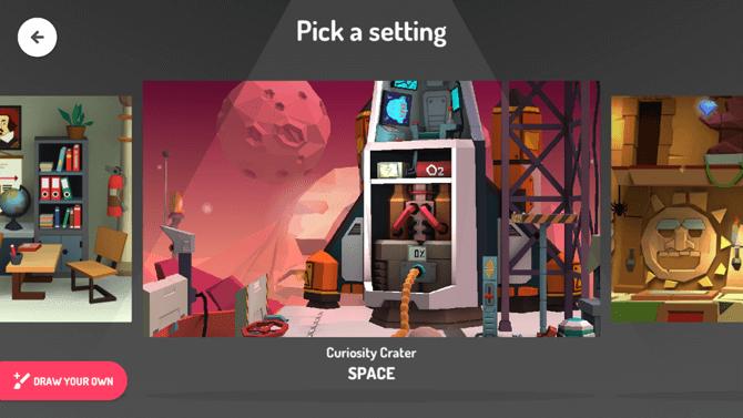 Choosing a Setting in Toontastic 3D
