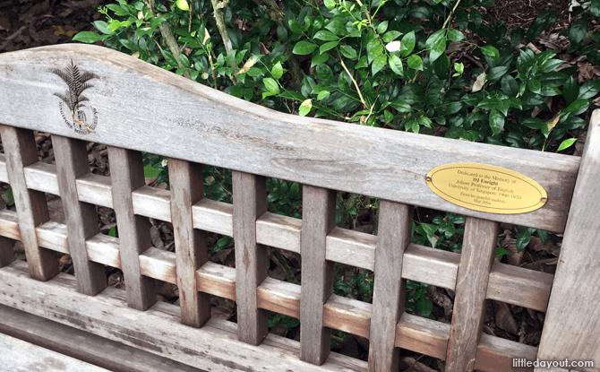 Bench with dedication at Singapore Botanic Gardens