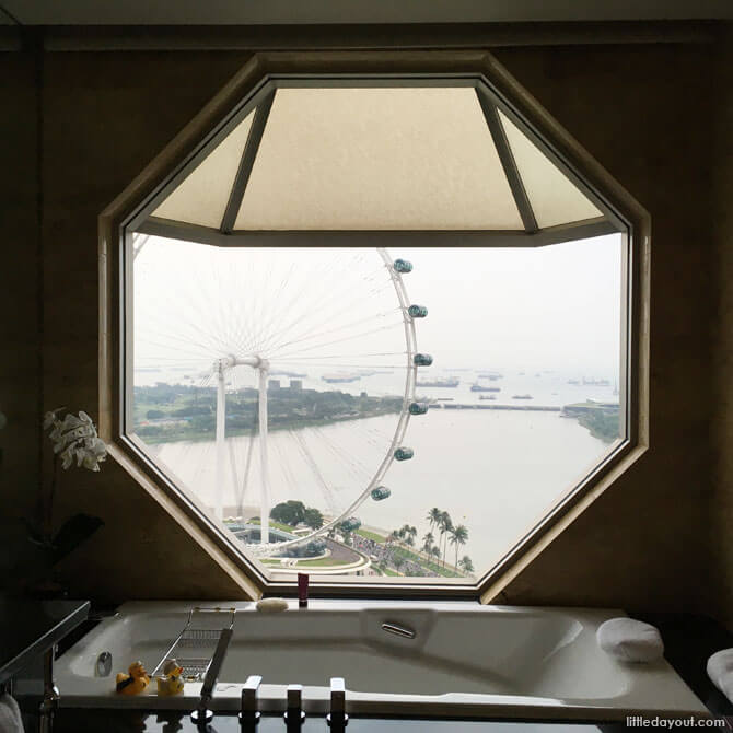 The legendary octagonal window view from the bath