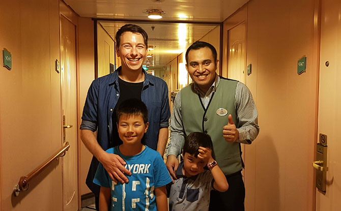 Crew on board the cruise ship