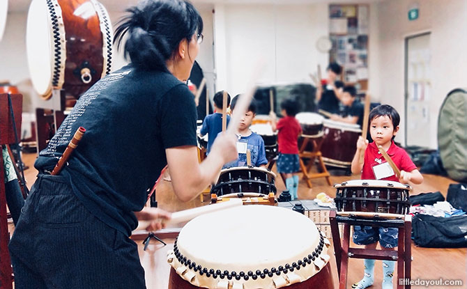 Taiko Drums In Singapore For Kids: The Sound Of Thunder At HIBIKIYA