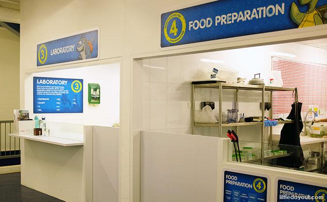 Behind-the-scenes tour of the aquarium's food preparation, laboratory