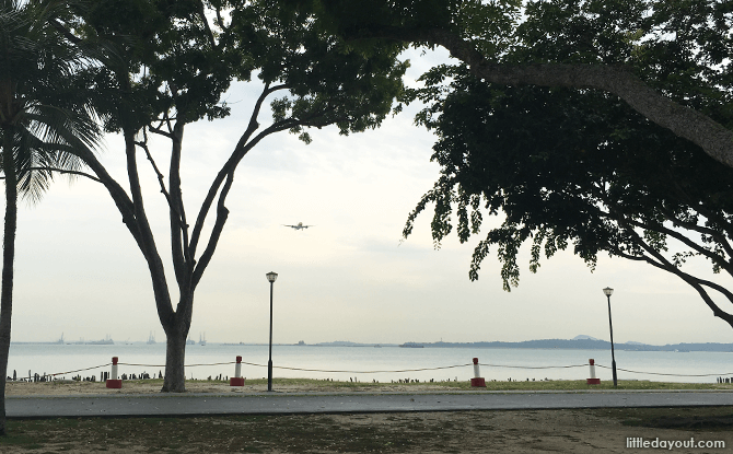 View of Plane Approaching Changi Airport