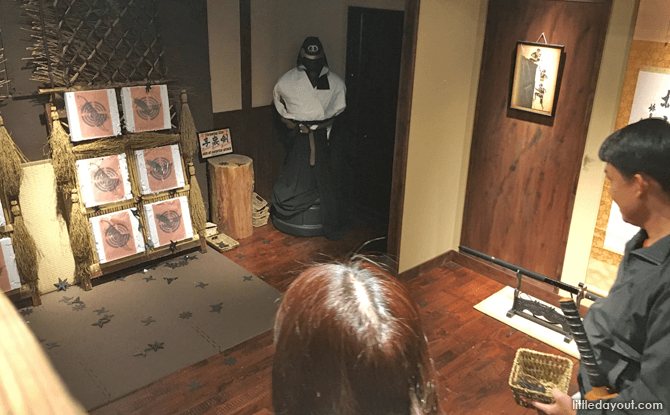 Throwing Shuriken at Ninja Trick House in Tokyo