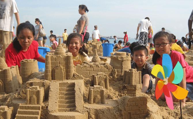 Family Sandcastle Building