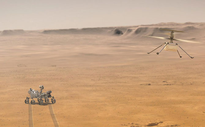 Ingenuity will remain within a 0.6-mile (1-kilometer) radius of Perseverance so it can communicate wirelessly with the rover. Perseverance then communicates with relay orbiters around Mars that send the signal back to Earth.