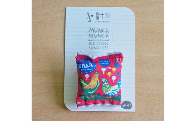 Snacks from our childhood have inspired designs such as this Kaka snack pin from wheniwasfour. Source.