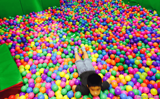 Ball pit at Kungfu Wooden Obstacle at Amazonia Indoor Playground at Great World City