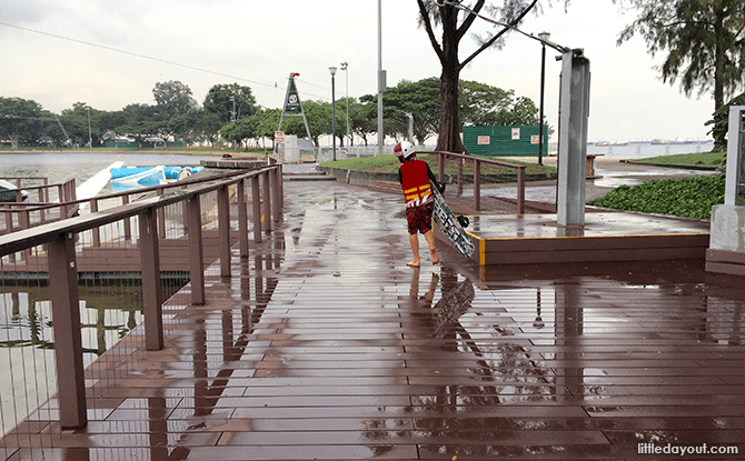 Wooden decks around Singapore Wake Park