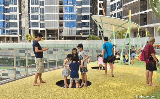 Waterway Point playground trampolines
