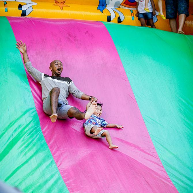Inflatable slide at Prudential Marina Bay Carnival