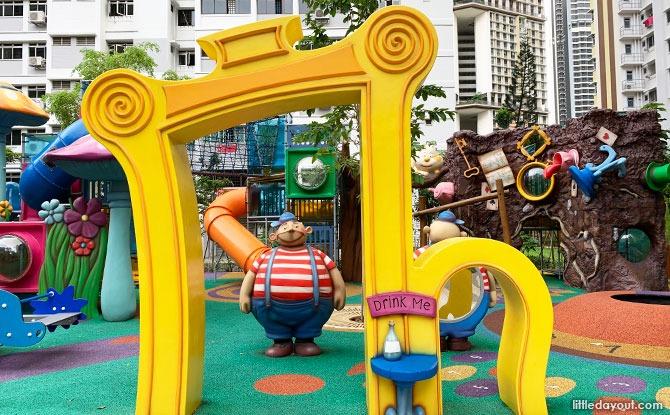 Alice In Wonderland Playground At Dawson Vista: Twiddle Dee, Twiddle Dum & The Cheshire Cat