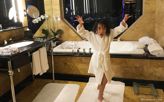 Kid-sized robe at Ritz-Carlton