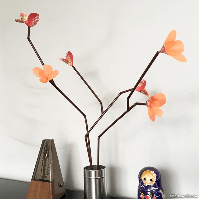 Plum blossom branches arranged