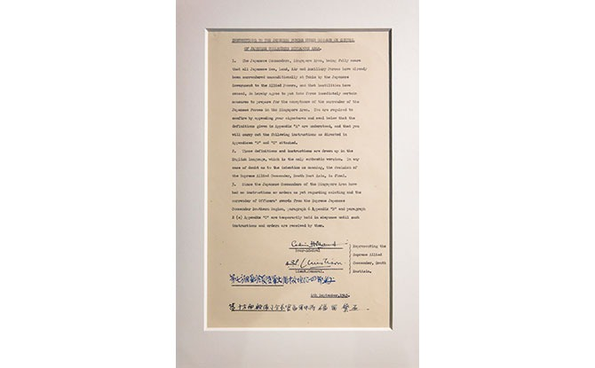 Surrender Agreement which Effectively Ended the Japanese Occupation of Singapore