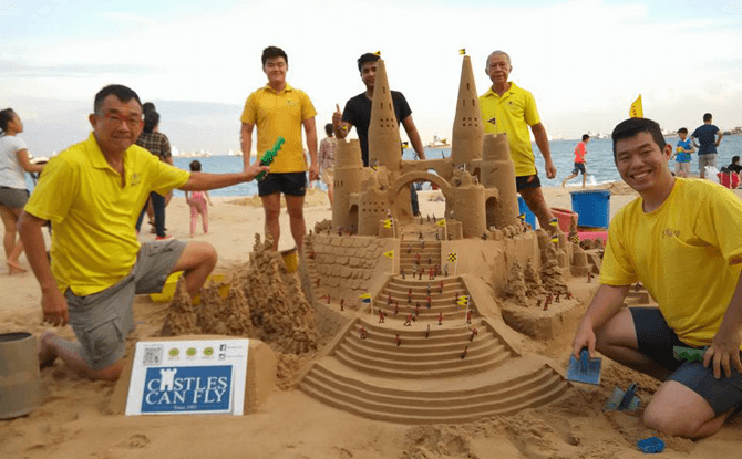 Alvin, first from left, with his sandcastle-crazy buddies.