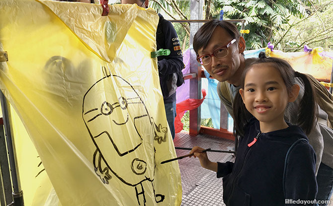 The Minion fan was very happy with her drawing on the sky lantern.