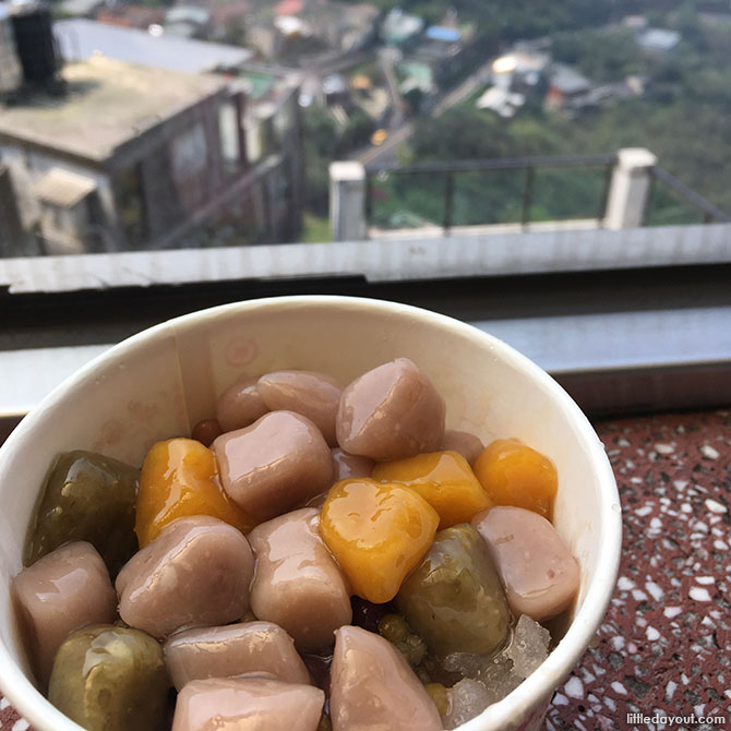 To get to the best taro ball dessert, you have to climb up steep steps to the A-Gan Yi Taro Ball shop. Follow the sign at the back of the shop and you'll end up at a dining area where you can enjoy your dessert with a view.