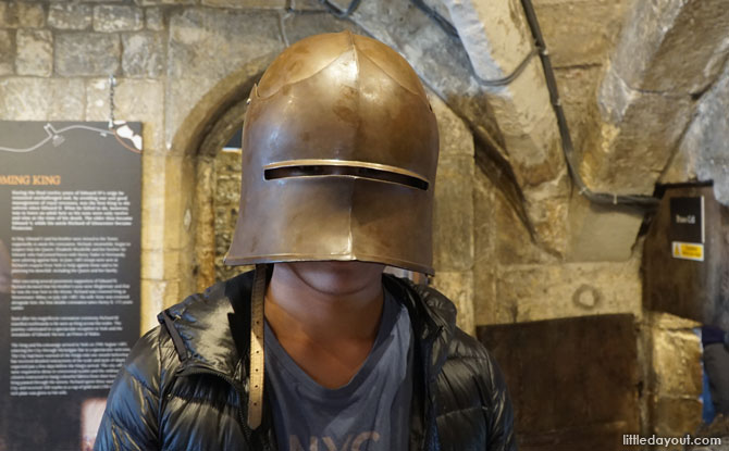Try out a medieval helmet at the walls.